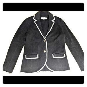 Ann Taylor Loft Black with Gray Trim Blazer Jacket